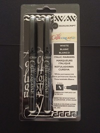 White calligraphy pens in packet for web