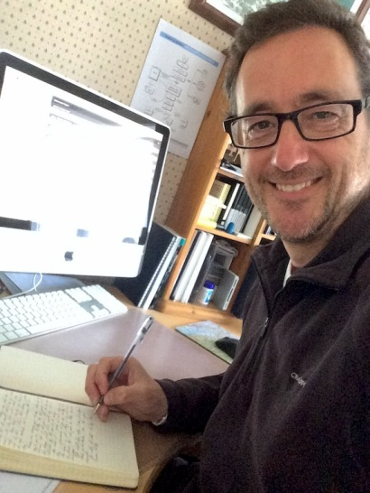 Simon Whaley writing in his notebook